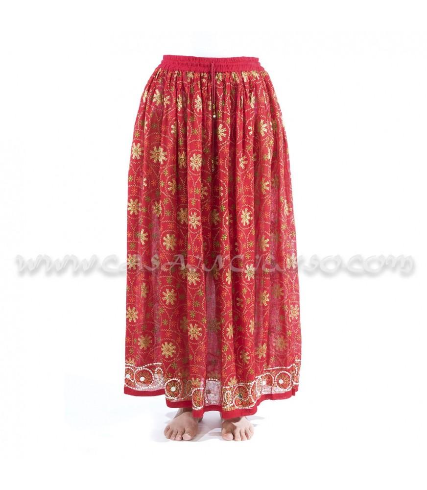 Falda estampada con decoración de lentejuelas