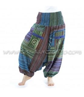 Pantalón Afgano Algodón Rayas - tonos azules