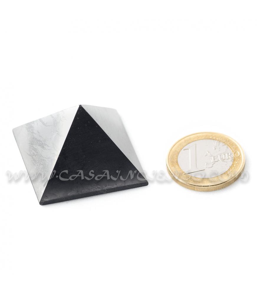 Pirámide Pulida Brillante 3x3x2cm - Shungit