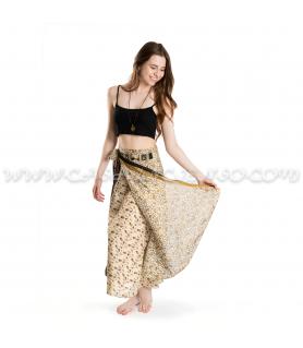 Falda Pareo India - Tonos beige/negro